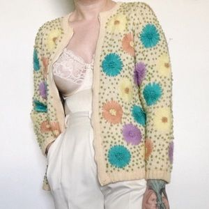 Vintage 60s Hand Embroidered Floral Wool Cardigan